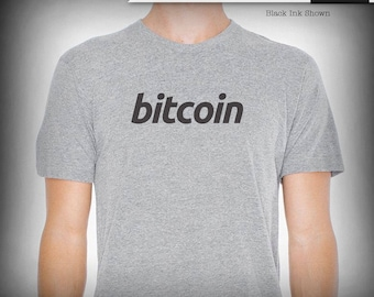Bitcoin logo typography graphic tee, crypto tees, custom print, t-shirt, gift for him, tech lover, geek gift