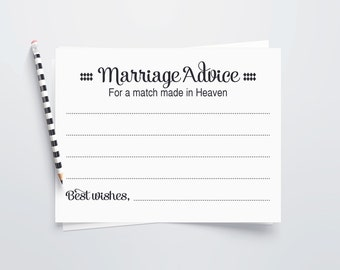 Marriage Advice Cards, Match Made In Heaven, PRINTABLE Wedding Advice Cards, Guest Book Alternative, Newlyweds Advice, Wedding Shower Game