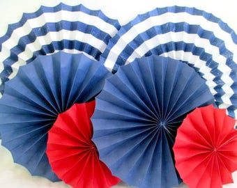 4th of July Decorations Hanging Fans Nautical Decor Paper Fans Beach Decor Pinwheels Red White Blue Table Backdrop Photo Background