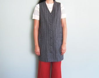 vintage 90s dress - pinafore dress - button front dress - pinstripe dress - minimalist clothing - jumper dress - gray wool dress large
