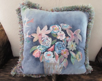Hand painted summer floral accent pillow: P583