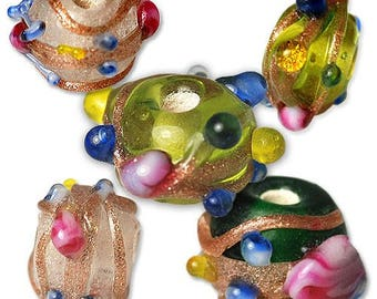 72 pcs Glass Wedding Cake Beads   7mm, assorted colors