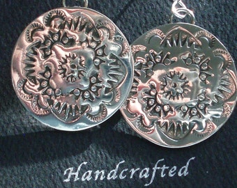 Hand Stamped Circular Sterling Silver Earrings, southwestern, high shine