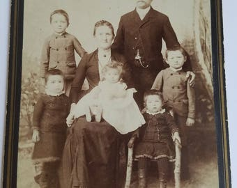 Cabinet Card Family Portrait Photo Interesting Eyes on Young Children