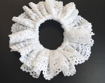 Lace Scrunchie, Ponytail holder, White Lace Scrunchies , Hair Scrunchie, Hair Tie, Scrunchie Hair Bun,White Black Scrunchie