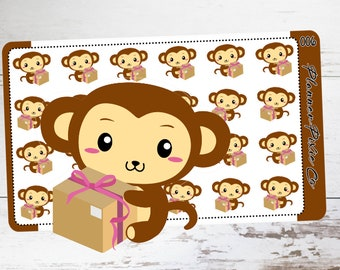 Mac the Monkey // Planner Stickers // Happy Mail // Package // 006