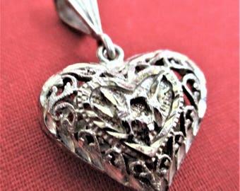 Sterling Silver Filigree Heart Pendant Puffed Heart Love Birds Necklace Pendant Tree of Life Pendant