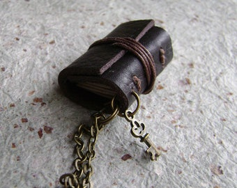 Mini book necklace, dark brown, mini journal necklace with key charm, miniature journal pendant, (2713)