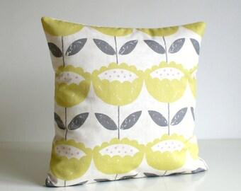 Flower pillow cover, pillow sham, accent pillow, sofa pillow, cotton pillow, cushion cover, throw pillow - Brush Flowers Citrus