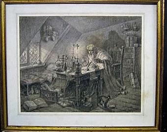 Original Sketch Of Medevil Alchemist