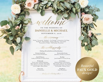 Faux Gold Wedding program Sign, Welcome Wedding Sign, Program Sign, Wedding Sign, Wedding Poster, Template, PDF Instant Download #BPB324_60
