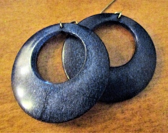 Vintage Blue Sparkle Lucite Dangle Hoop Earrings