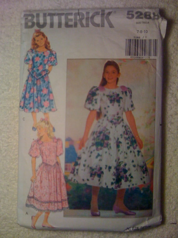 Butterick 90s Sewing Pattern 5288 Girls Dress Size 7-10 Sale