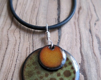 Copper Enamel Necklace Pendant Orange and Chestnut Brown and Olive Green