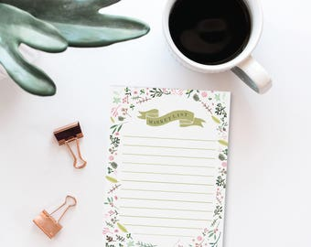 Floral Market List Notepad | Grocery Store List with Illustrated Florals and Rustic Banner, Daily Shopping List, Easter Gift Idea
