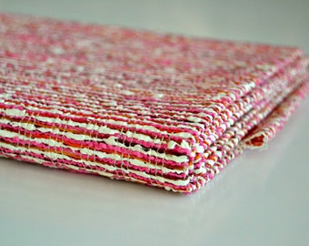 Cotton/Wool Fabric - Stripes, Pink and White