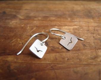 small flying bird earrings, sterling silver