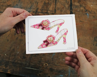Mini Shoe Collage, Original Shoe Collage, Handmade Shoe Art, Pink Floral Shoe, Mixed Media Paper Collage, Handmade Card, Stitched Art