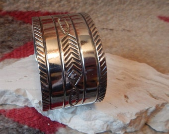 Cuff bracelet, sterling silver, southwestern, New Mexico, tribal, wide, mens  womens  horse estate jewelry  vintage jewelry  gift