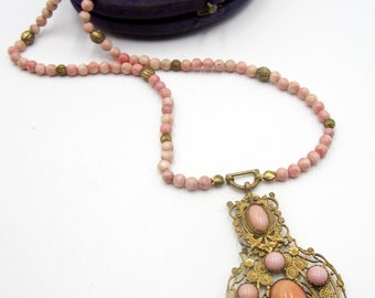 Antique vintage pink natural pink stone & Edwardian brass pendant