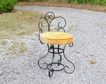 Vintage Wrought Iron Vanity Chair Stool Black Metal Gold Tufted Seat All Original PanchosPorch