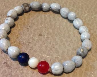 Red, White and Blue job's tear stretch bead bracelet; beaded bracelet; beaded jewelry