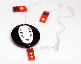Spirited Away's No Face necklace, handpainted - Miyazaki, studio Ghibli, geek, cute, kawaii, japanese, Japan, lasercut, acrylic