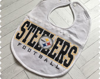 Pittsburgh Steelers Football Baby Bib, Recycled T-Shirt Baby Bib, Sports Baby Gift, Baby Shower Gift, Baby Girl Gift, Steelers Girl