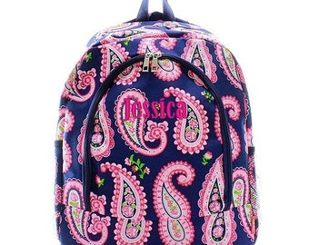 Monogrammed Backpack Personalized Shabby Paisley Navy Backpack Personalized Backpack Kids Backpack Girls Backpack Boys Backpack