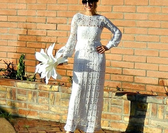Long Sleeve Wedding Dress-Long Sleeve Lace Wedding Dress-Winter Wedding Dress-Separates-Hand Crochet Lace Couture Maxi Skirt-Bride Chic