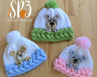 Sleep Tight Teddy Bear Hat - Crochet Pattern