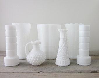 Milk Glass Vases Instant Collection Seven Piece Set