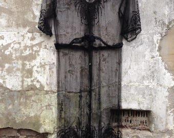 silkmesh beaded vintage dress