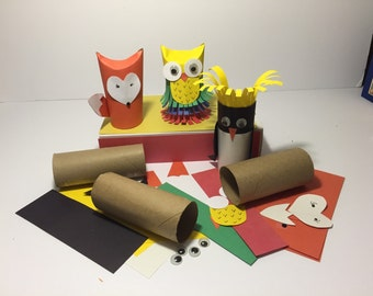 Craft Kit Paper Tube Owl Penguin Fox