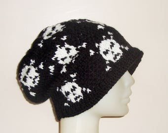 Hand Knit Hat Womens Hat Winter Hat Skull Hat Skull Knit Hat in black white Woman gift for women