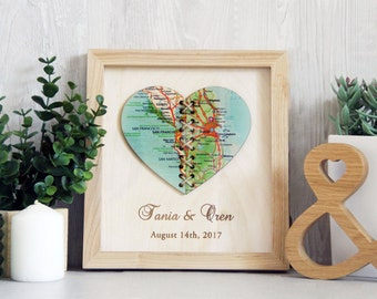 Valentines Gift for Him, Gift for Long Distance Relationships, Romantic Gift for Her, Personalized Two State Personalized Map Print Map gift