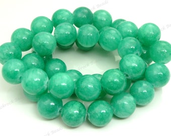 10mm Sea Green Mashan Jade Round Gemstone Beads - 20pcs - BG22