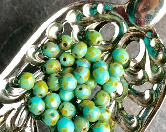 PETITE - Turquoise faceted Beads with a Picasso finish - Premium Czech Glass Beads - 50 Beads