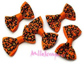 Set of 5 bows leopard orange embellishment scrapbooking card making *.