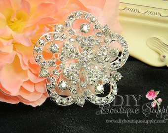 Rhinestone Brooch Embellishment Crystal Wedding Supply Brooch Bouquet Bridal Wedding Accessories Button Flatback Large 60mm 001205