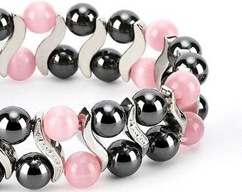 Pink Cat Eye Elegant Womens Hematite Magnetic Therapy Healing Stone Bracelet & Ring Set Pain Relief for Arthritis and Carpal Tunnel