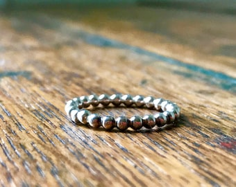 Sterling Silver Hand Forged Beaded Stacking Ring