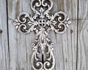 wall cross, iron wall cross, ornate cross, floral cross, shabby chic cross, rustic cross, cross wall decor, painted cross, iron anniversary