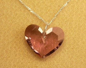 Broken Heart Sterling Silver Necklace with Swarovski Crystal