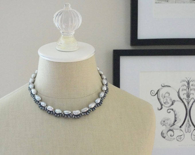Gray pearl necklace
