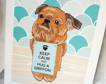 Keep Calm Brussels Griffon with Scaled Background - 7x9 Eco-friendly Print