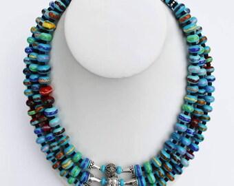 Turquoise Lampwork Bead Necklace, 3 Tiered Turquoise Lampwork Bead and Bali Silver Necklace, Artisan Glass Bead Jewelry, Handmade Jewelry,