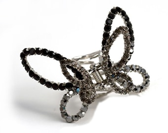 Hair Jewelry Crystal Butterfly Hair Clip, Black / Free Gift Box(SO5430-bk)