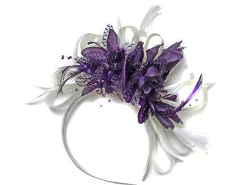White & Dark Purple Feathers Fascinator on Headband