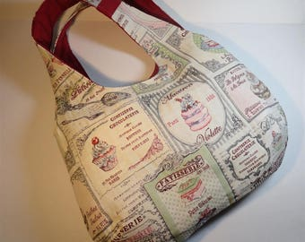 reversible ball bag, pastry theme fabric and red fabric